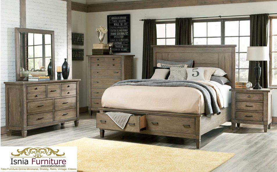 Set Kamar Jati Model Rustic Abu - Abu