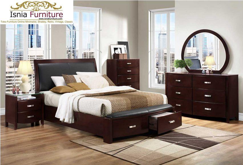 Set Kamat Tidur Minimalis Modern Brown