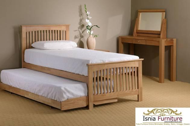 Tempat Tidur Anak Sorong Multiguna Bahan Kayu Solid Natural