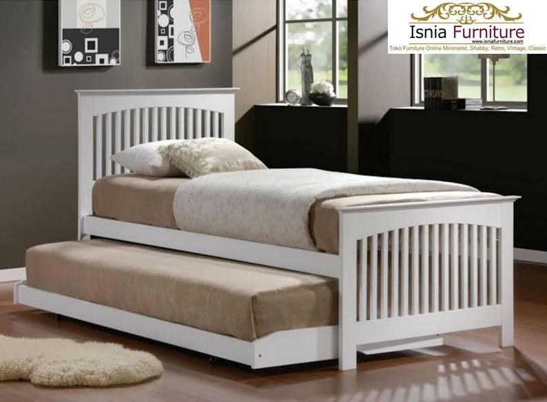 Tempat Tidur Anak Sorong Multiguna Bahan Kayu Solid White