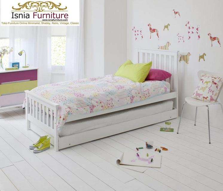 Jual Tempat Tidur Sorong Model Modern Bahan Kayu Solid