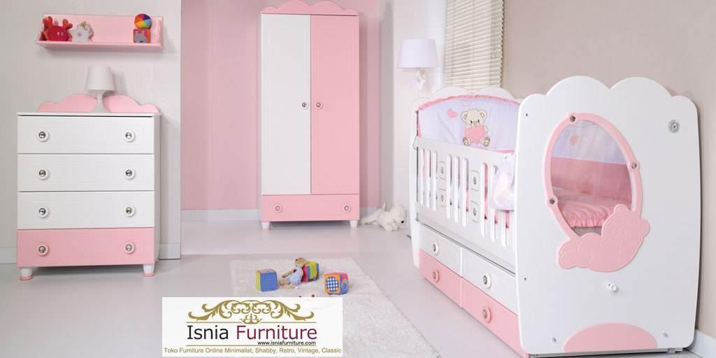 kamar set bayi perempuan soft pink