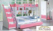 Tempat Tidur Tingkat Anak Perempuan White Pink