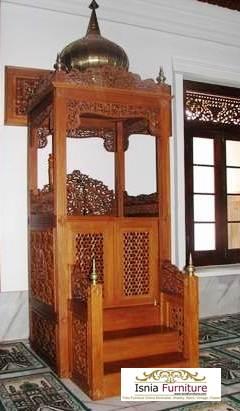 mimbar masjid kubah kayu jati ukiran