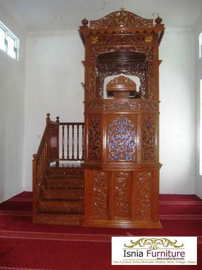 Jual Mimbar Masjid Surabaya Kayu Jati Ukir
