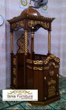 Mimbar Masjid Model Kubah Mewah Relief Kayu Jati