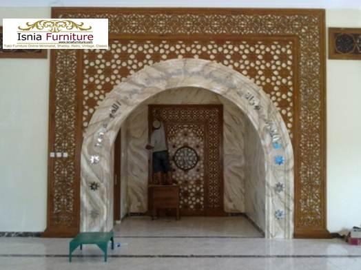 29+ Mihrab Masjid Minimalis Mewah Ukiran Kayu Desain Terbaru