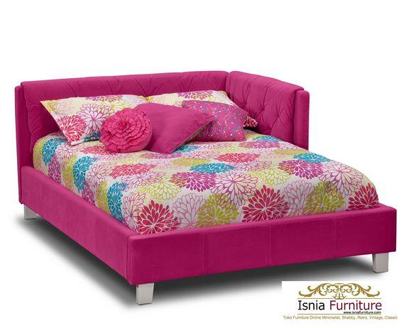 Tempat Tidur Anak Sudut Minimalis Pink Full Busa