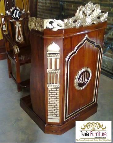 38+ Model Kursi Mimbar Masjid Ukiran Kayu Jati Mewah Minimalis