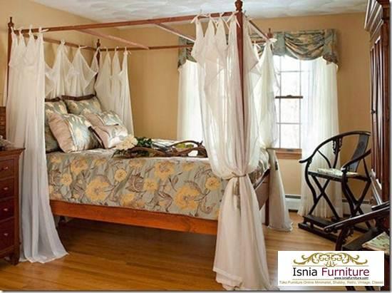 27+ Tempat Tidur Kanopi Minimalis Kayu Jati Model Terbaru