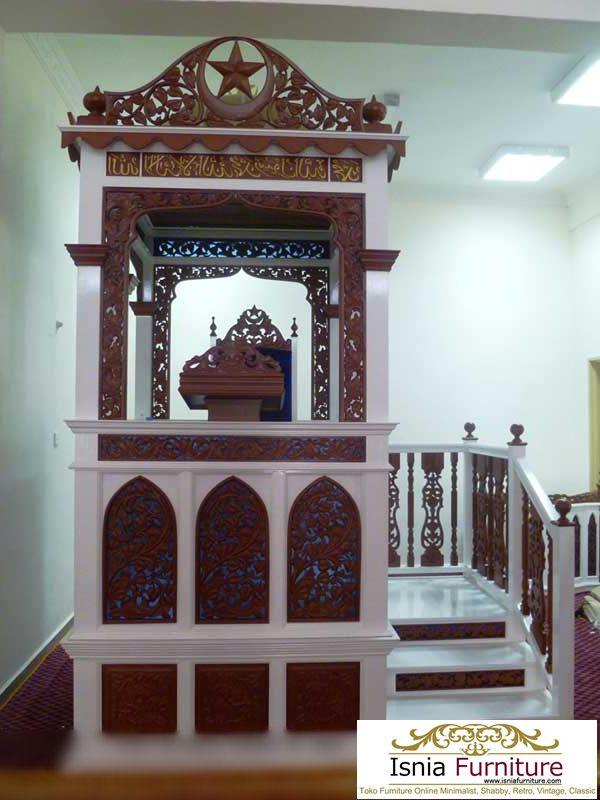 Mimbar Masjid Medan Kayu Jati Putih Coklat