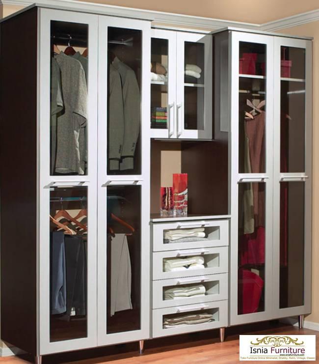 Lemari Pakaian Kaca 4 Pintu dengan Laci Tengah