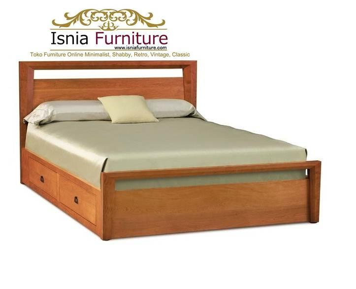 Tempat Tidur Solo Jati Minimalis Laci Cantik Model Baru