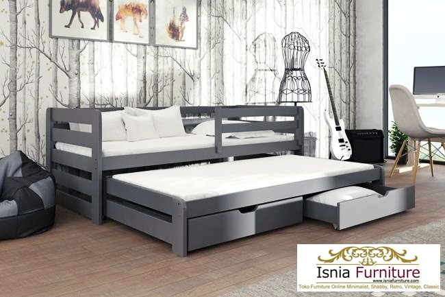 Tempat Tidur Anak Remaja Model Laci Sorong Minimalis