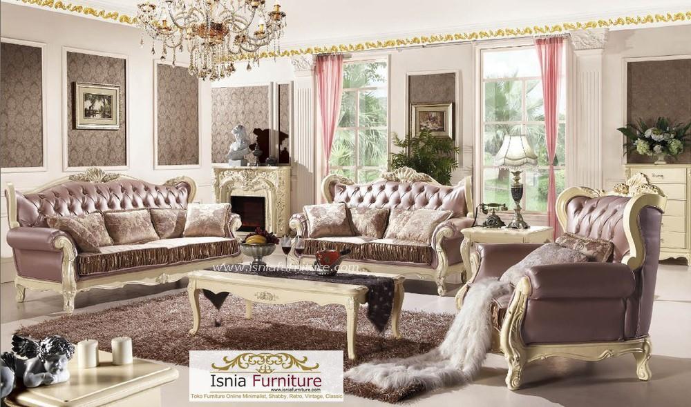 Set Kursi Meja Tamu Sofa Mewah Gaya Klasik Eropa
