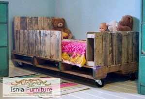 Tempat Tidur Anak Jati Belanda Minimalis Kayu Pallet