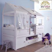 Jual Tempat Tidur Anak Model Rumah Kayu Putih Unik