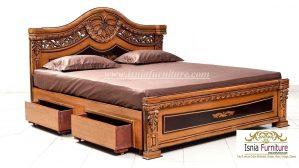 Tempat Tidur Jati Cirebon Ukiran Klasik Mewah Model Laci
