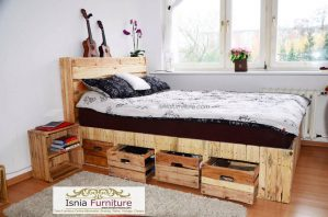 Jual Tempat Tidur Laci Minimalis Model Kayu Pallet