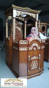 Jual Mimbar Masjid Ukir Jati Bentuk Atap Kubah Terlaris
