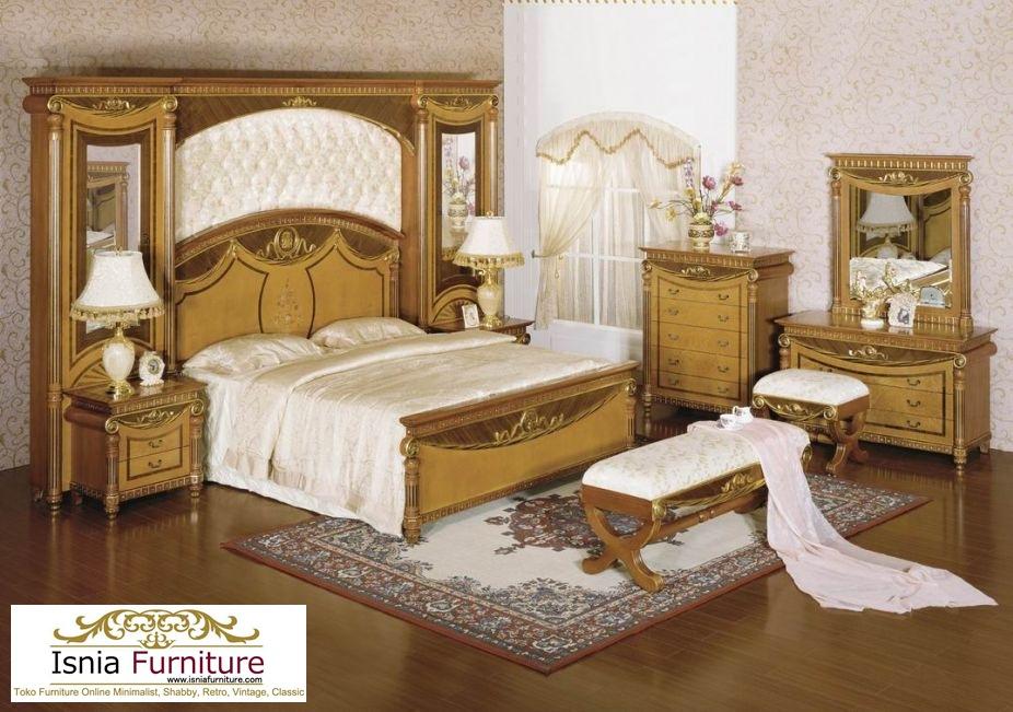 Jual Set Kamar Tidur Mewah Jati Ukir Emas Klasik Termurah