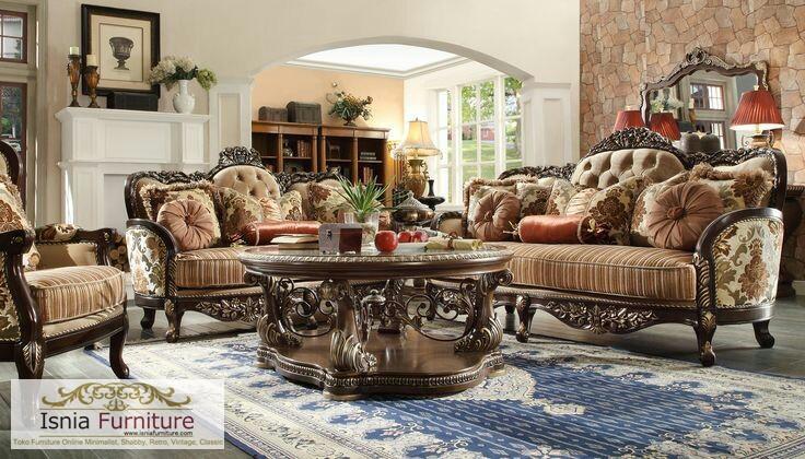 Jual Set Kursi Tamu Jati Ukir Luxury Klasik Harga Termurah