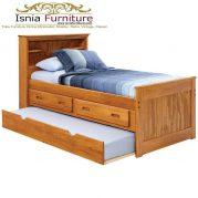 Tempat Tidur Kayu Jati Minimalis Modern Model Laci Sorong