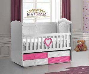 Tempat Tidur Box Bayi Kayu Duco Modern Minimalis Pink