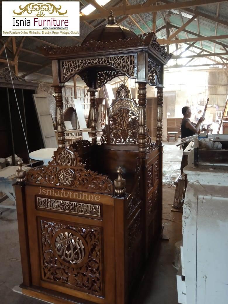 Mimbar Ukir Mewah Model Atap Kubah Jati Untuk Masjid