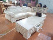 Set Kursi Tamu Sudut Sofa Surabaya Putih