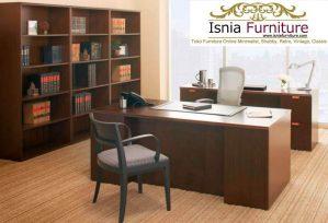 Meja Kerja Kantor Bogor Kayu Jati Minimalis Modern