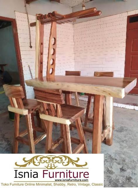 Set Meja Bar Kayu Trembesi Solid
