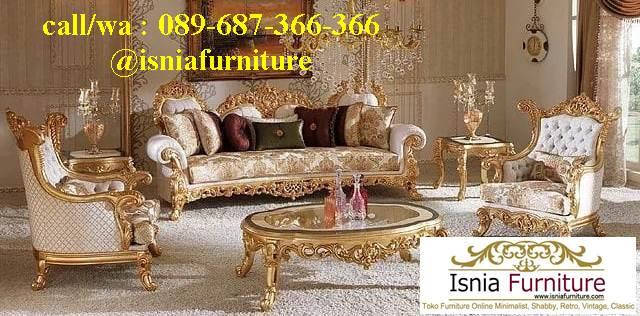 Sofa Mewah Warna Gold Cat Duco Klasik
